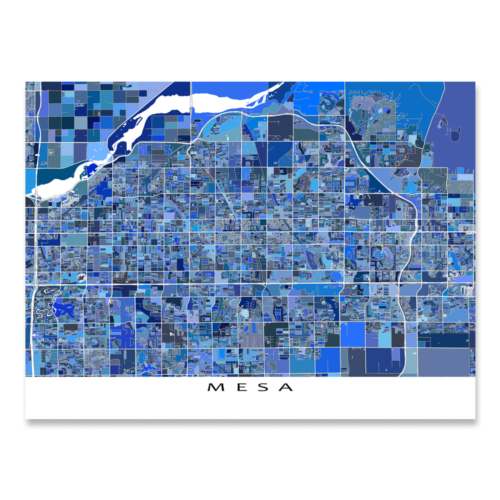 Mesa, Arizona map art print in blue shapes designed by Maps As Art.