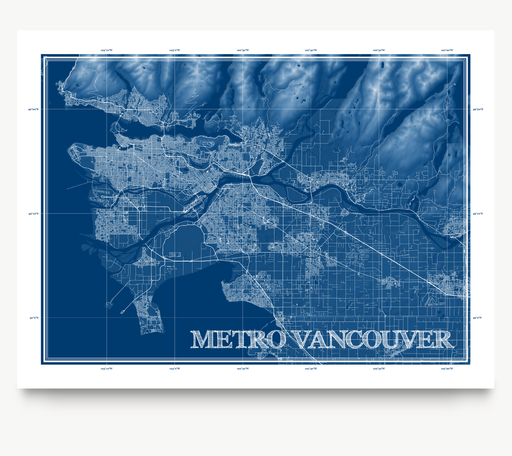 Metro Vancouver, BC, Canada blueprint map art print designed by Maps As Art.