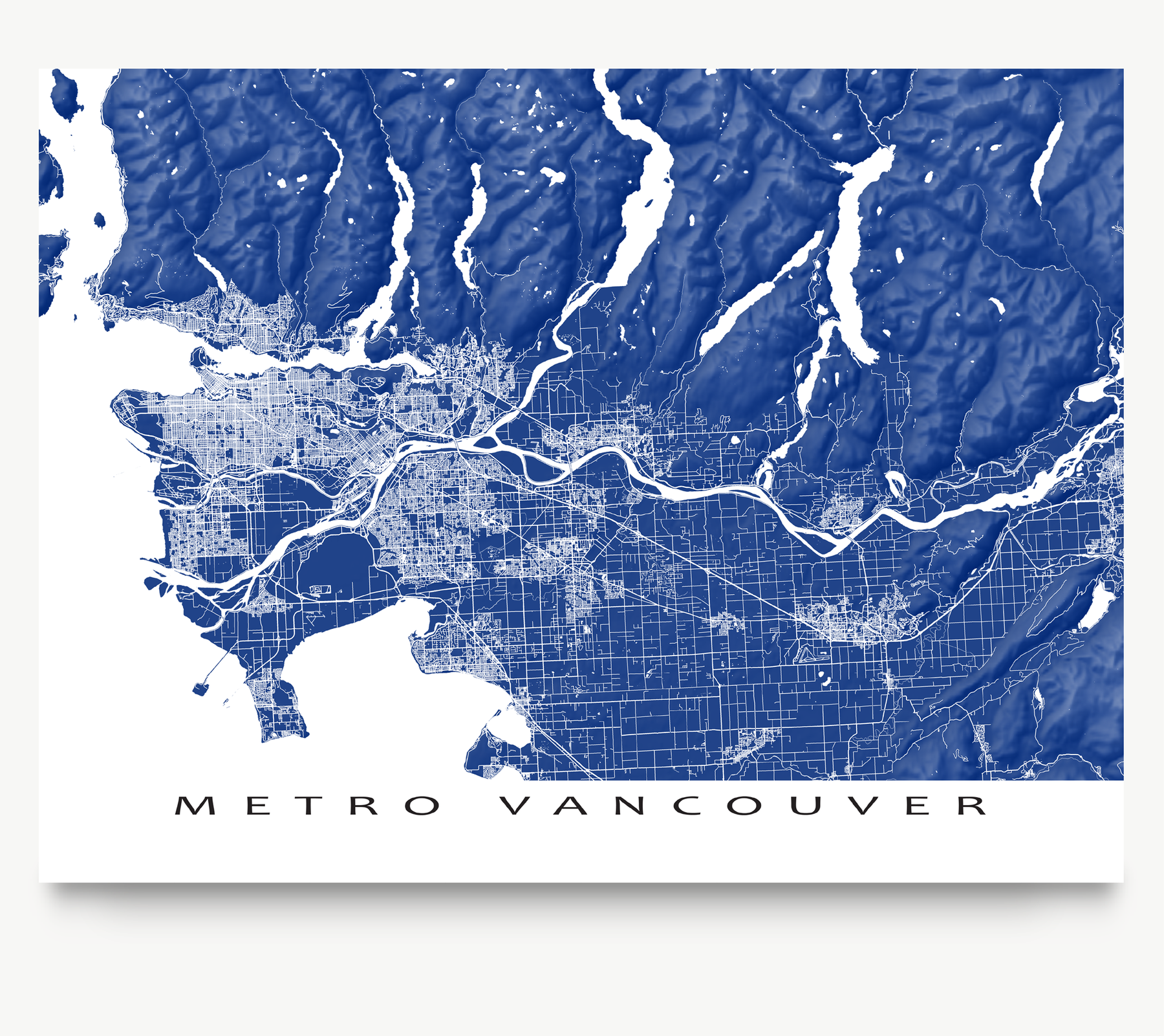 Metro Vancouver, BC, Canada map art print in Navy designed by Maps As Art.