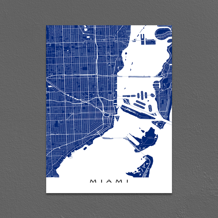 Miami, Florida map print with city streets and roads in Navy designed by Maps As Art.