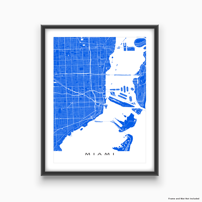 Miami, Florida map print with city streets and roads in Blue designed by Maps As Art.