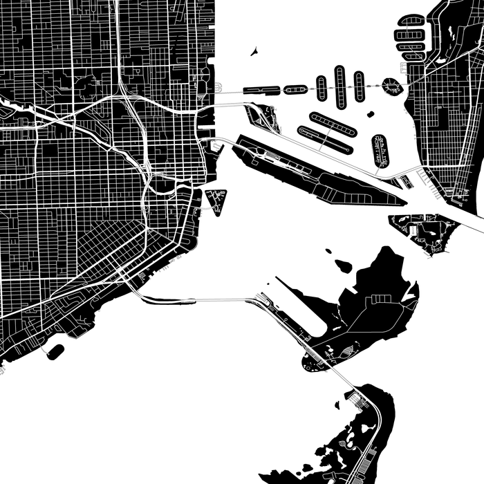 Miami, Florida map print close-up with city streets and roads designed by Maps As Art.