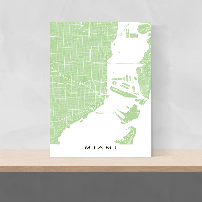 Miami, Florida map print with city streets and roads in Sage designed by Maps As Art.
