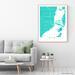 Miami, Florida map print with city streets and roads in Turquoise designed by Maps As Art.