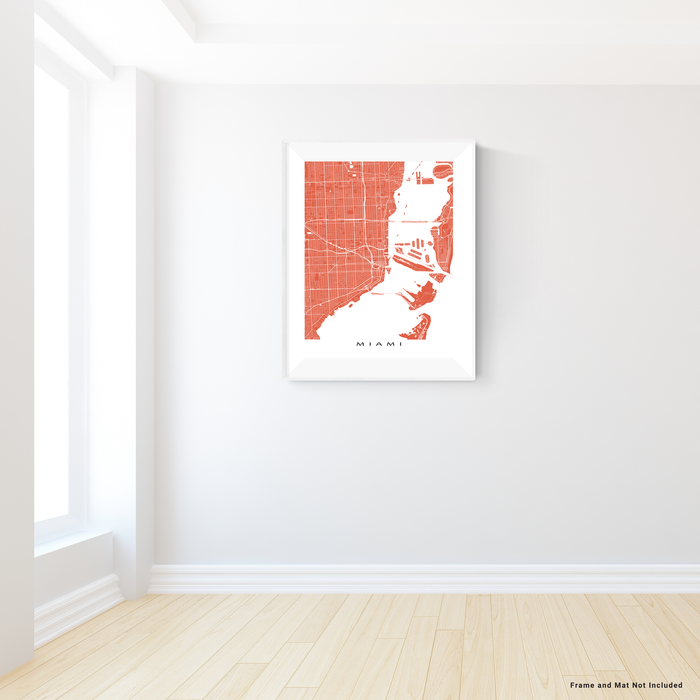 Miami, Florida map print with city streets and roads in Terracotta designed by Maps As Art.