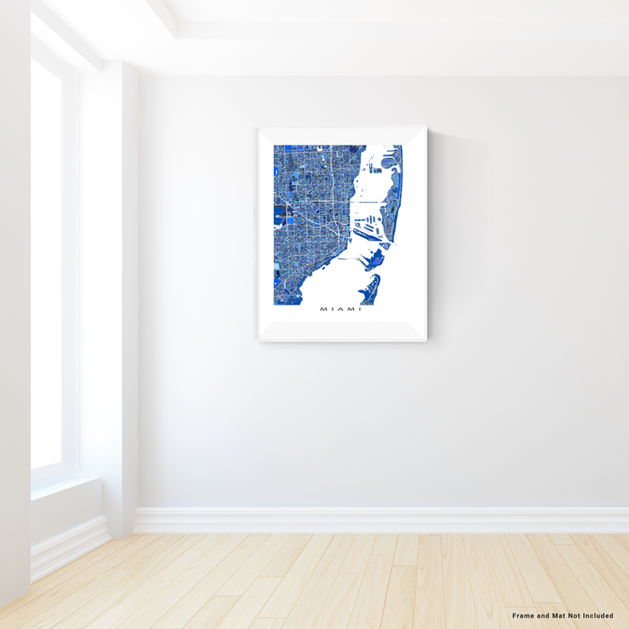 Miami, Florida map art print in blue shapes designed by Maps As Art.