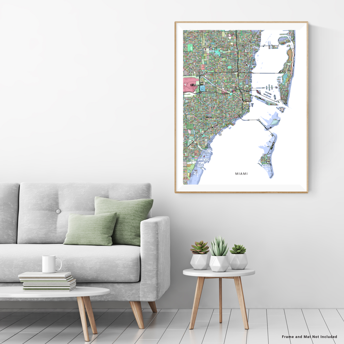 Miami, Florida map art print in colorful shapes designed by Maps As Art.