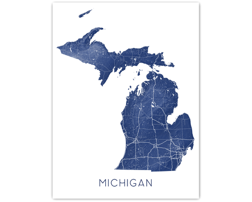 Maps As Art Michigan state map print.