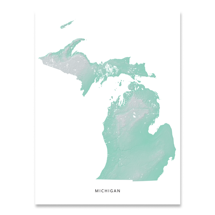 image relating to Printable Maps of Michigan called Michigan Map Print, Aqua Landscape