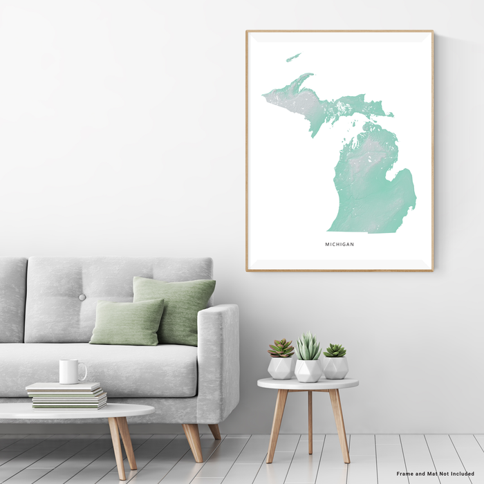 Michigan state map print with natural landscape in aqua tints designed by Maps As Art.