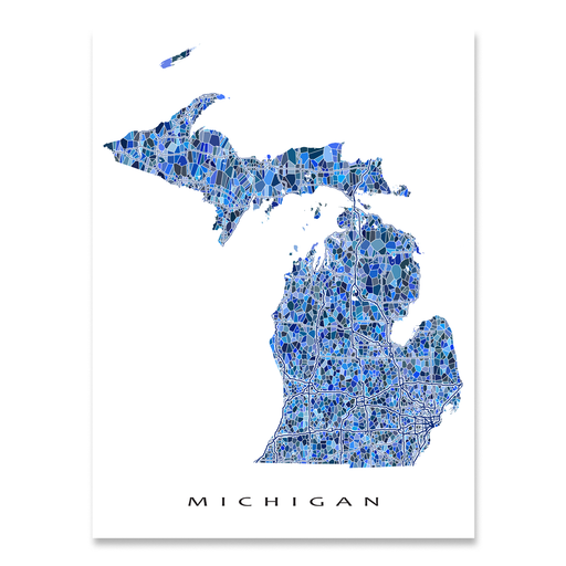 Michigan state map art print in blue shapes designed by Maps As Art.