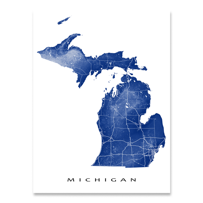 Michigan state map print with natural landscape and main roads in Navy designed by Maps As Art.