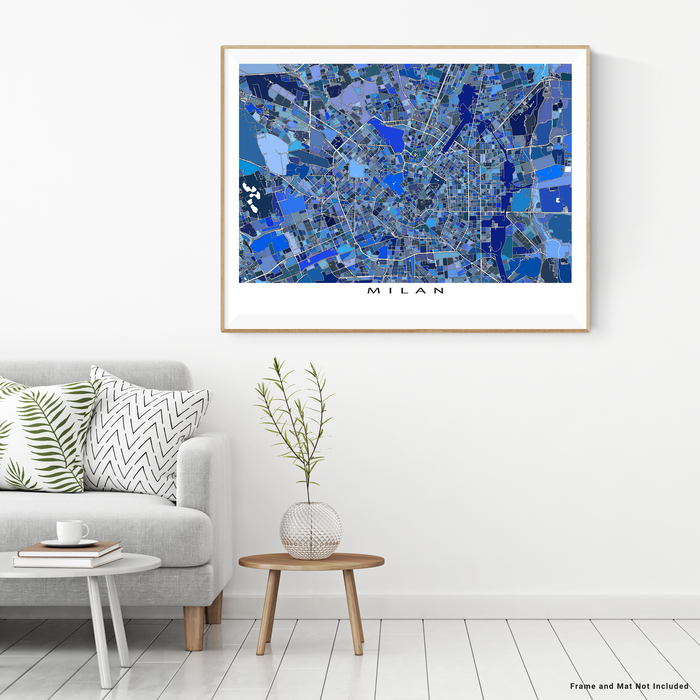 Milan, Italy map art print in blue shapes designed by Maps As Art.