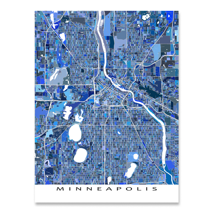 Minneapolis, Minnesota map art print in blue shapes designed by Maps As Art.