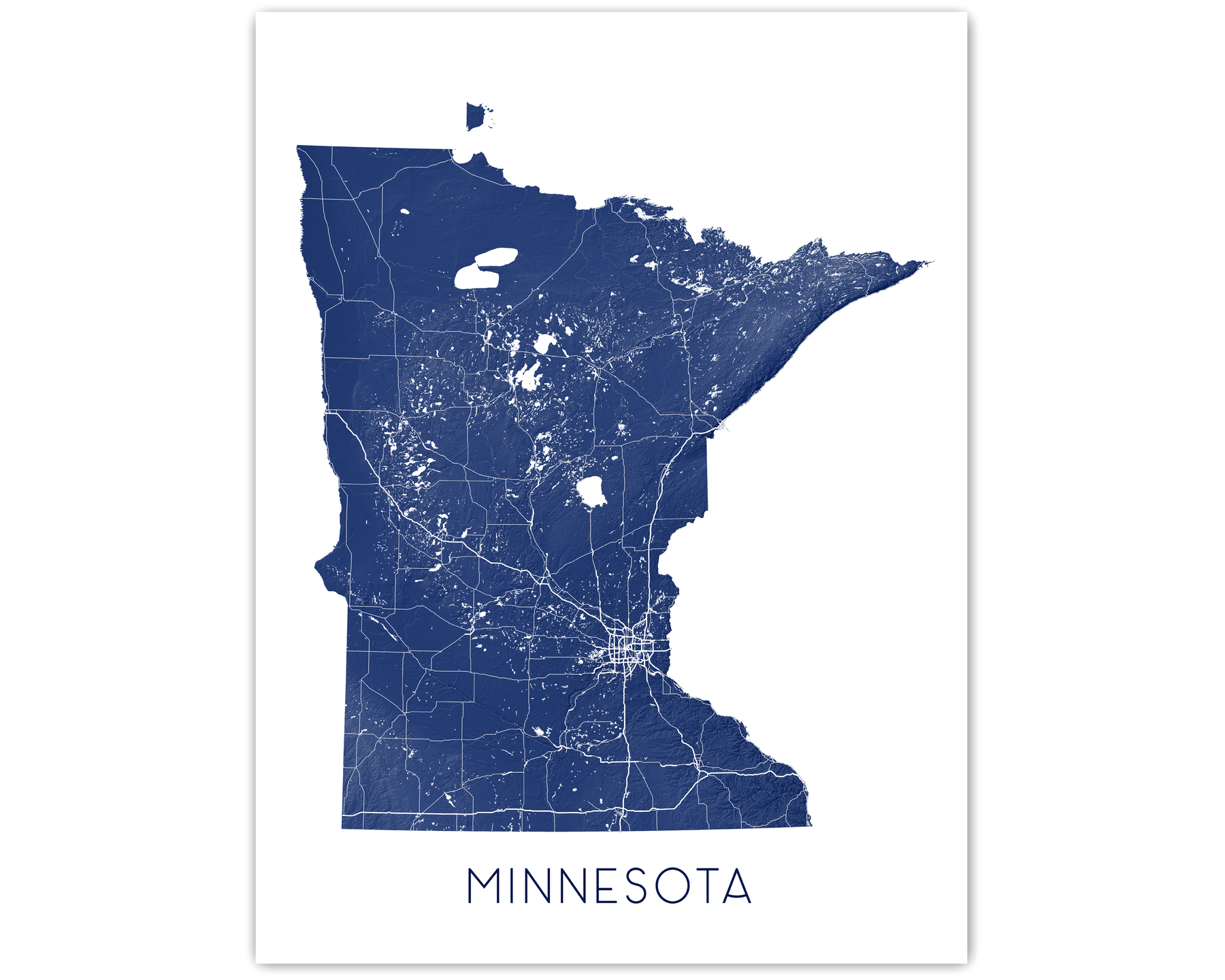 Minnesota state map print in Midnight by Maps As Art.