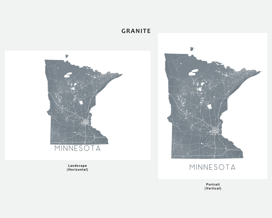 Minnesota state map print in Granite by Maps As Art.