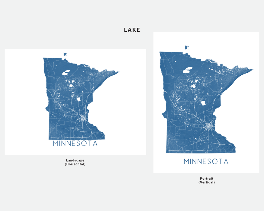 Minnesota state map print in Lake by Maps As Art.