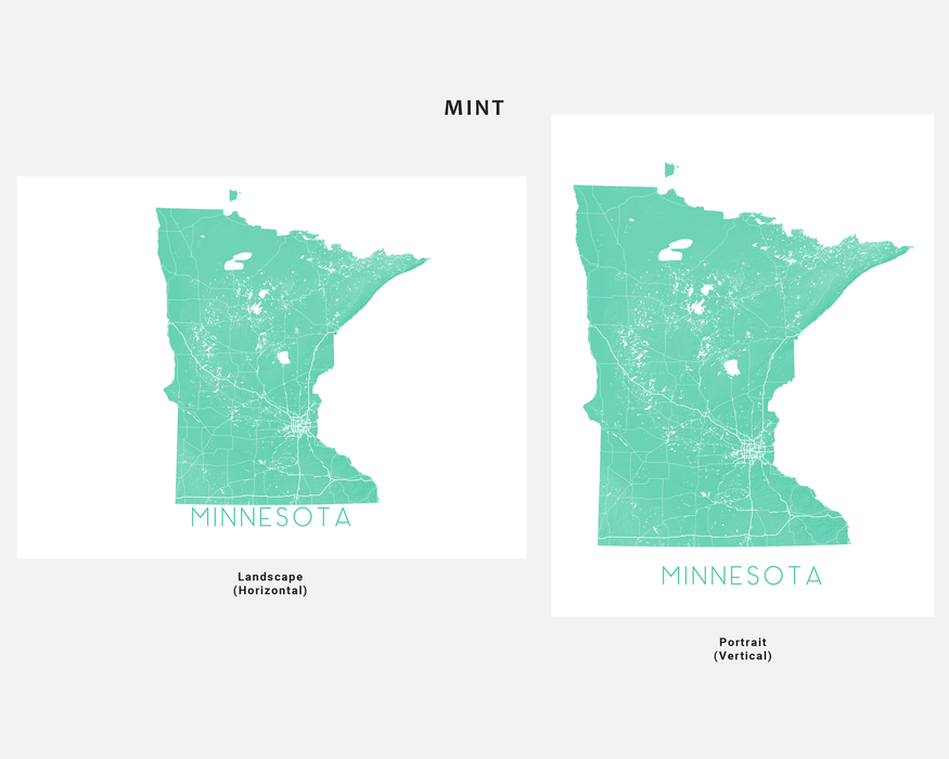 Minnesota state map print in Mint by Maps As Art.