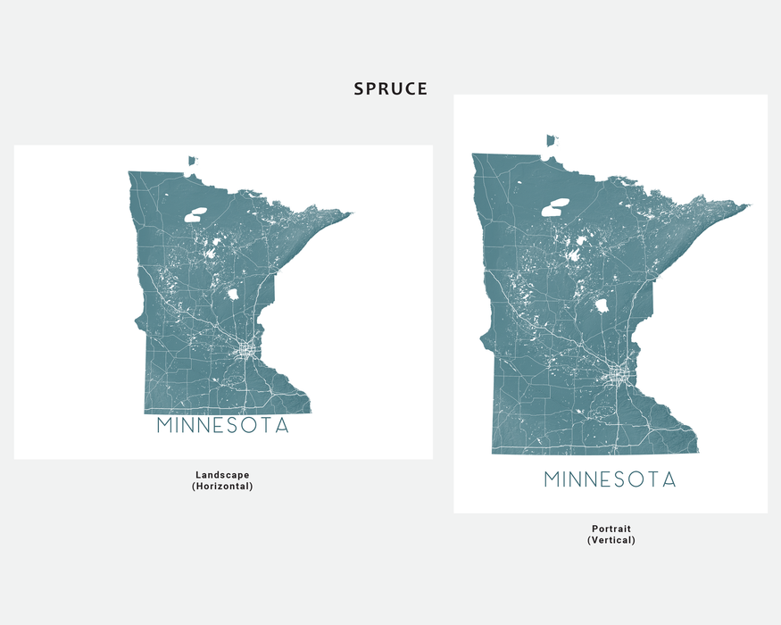 Minnesota state map print in Spruce by Maps As Art.