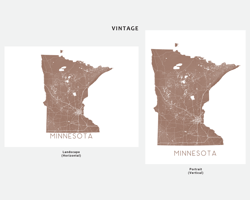 Minnesota state map print in Vintage by Maps As Art.