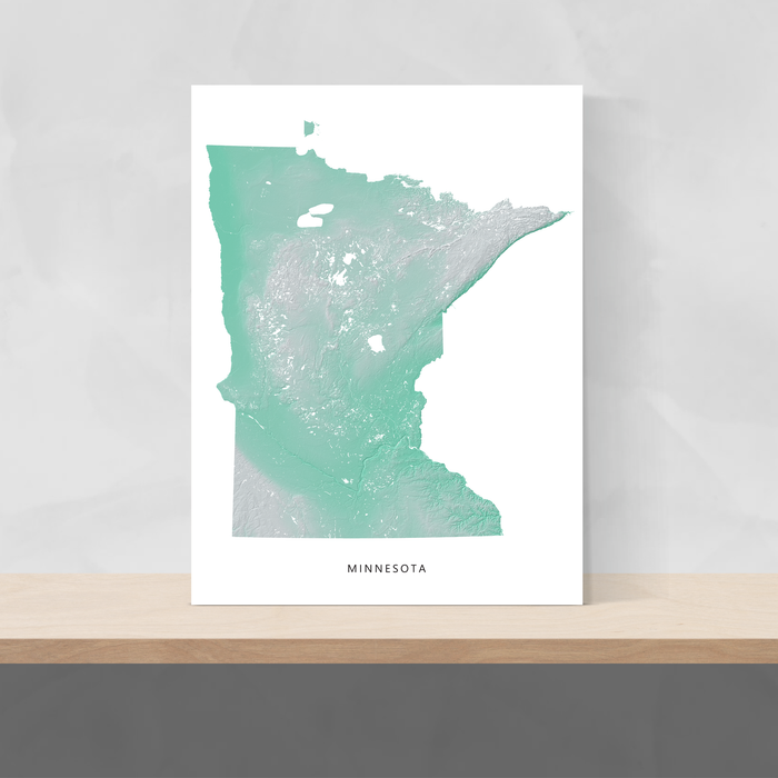 Minnesota state map print with natural landscape in aqua tints designed by Maps As Art.