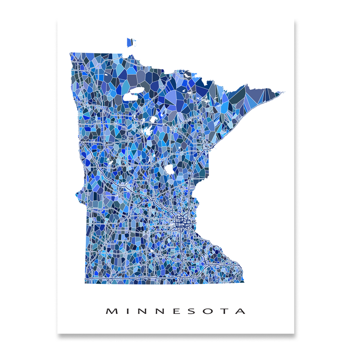 Minnesota state map art print in blue shapes designed by Maps As Art.