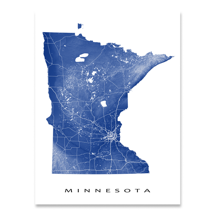 Minnesota state map print with natural landscape and main roads in Navy designed by Maps As Art.