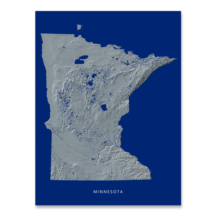 Minnesota state map print with natural landscape in greyscale and a navy blue background designed by Maps As Art.