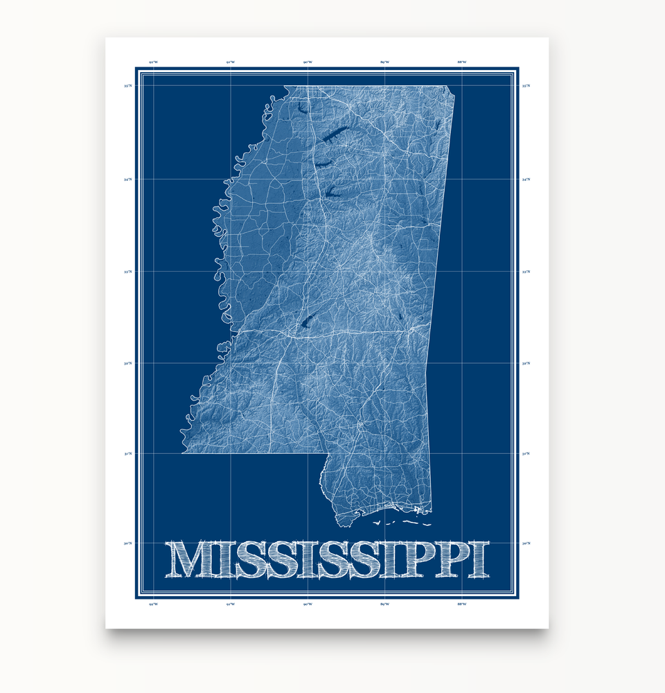Mississippi state blueprint map art print designed by Maps As Art.