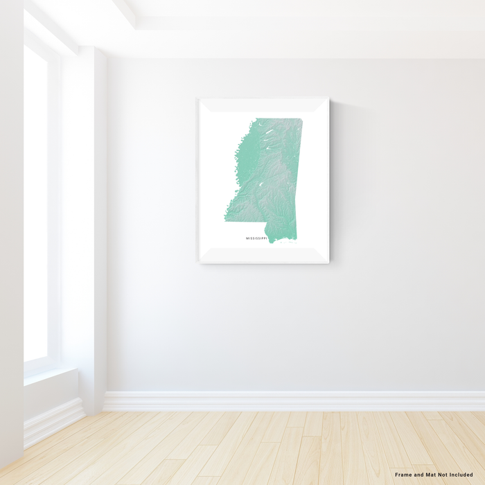 Mississippi state map print with natural landscape in aqua tints designed by Maps As Art