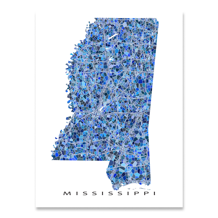 Mississippi Map Print, MS State