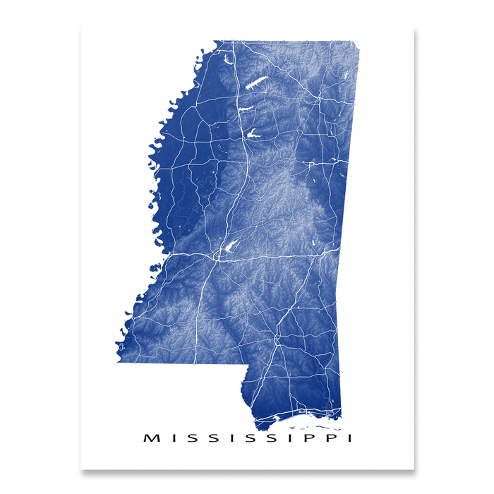 Mississippi state map print with natural landscape and main roads in Navy designed by Maps As Art.