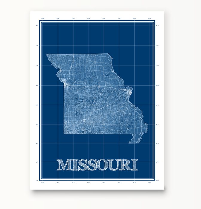 Missouri state blueprint map art print designed by Maps As Art.