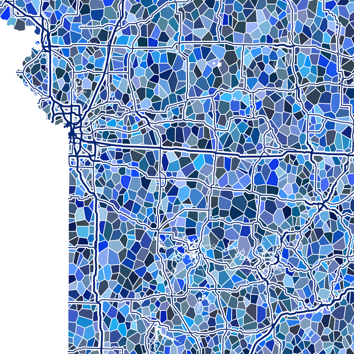 Missouri state map art print in blue shapes designed by Maps As Art.