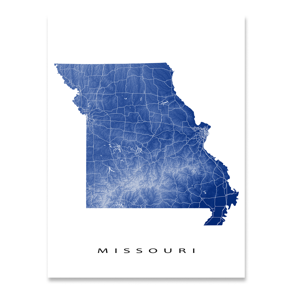 Missouri state map print with natural landscape and main roads in Navy designed by Maps As Art.