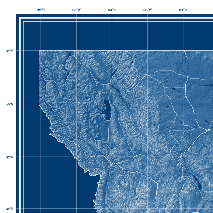 Montana state blueprint map art print designed by Maps As Art.