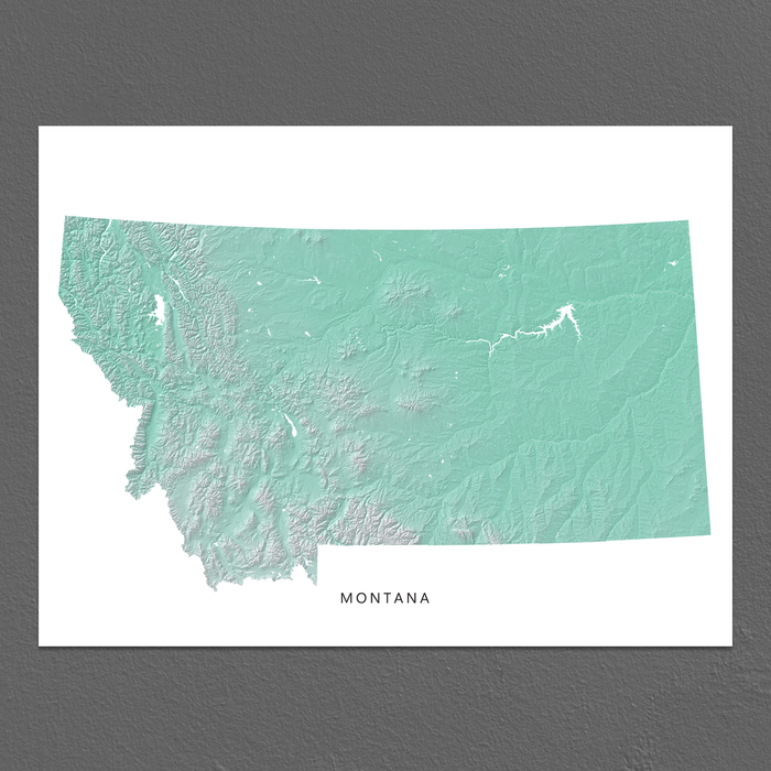 picture about Printable Map of Montana titled Montana Map Print, Aqua Landscape