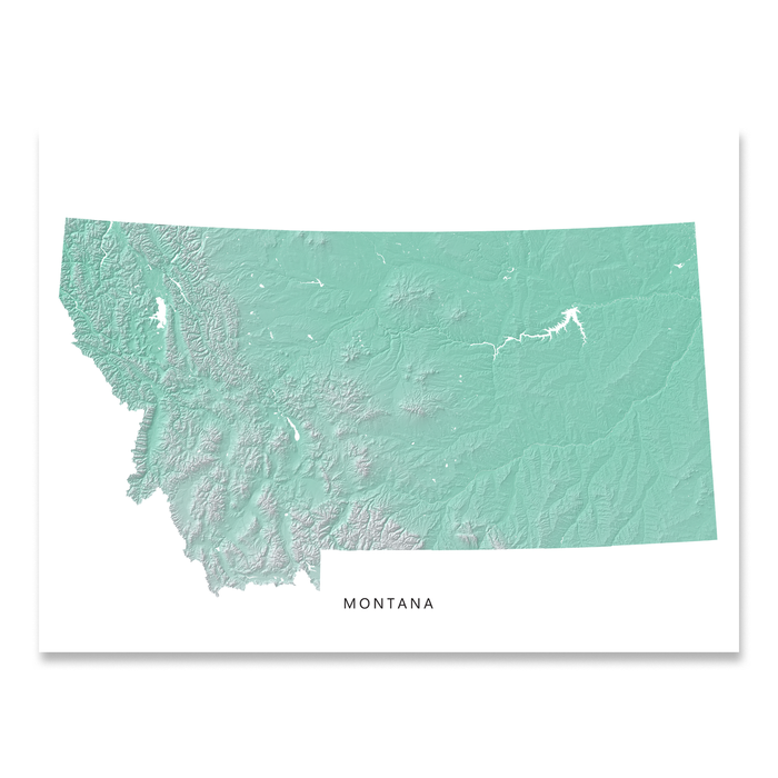Montana state map print with natural landscape in aqua tints designed by Maps As Art.
