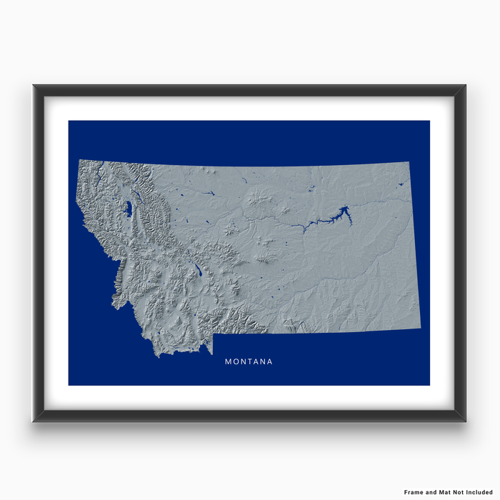 Montana state map print with natural landscape in greyscale and a navy blue background designed by Maps As Art.