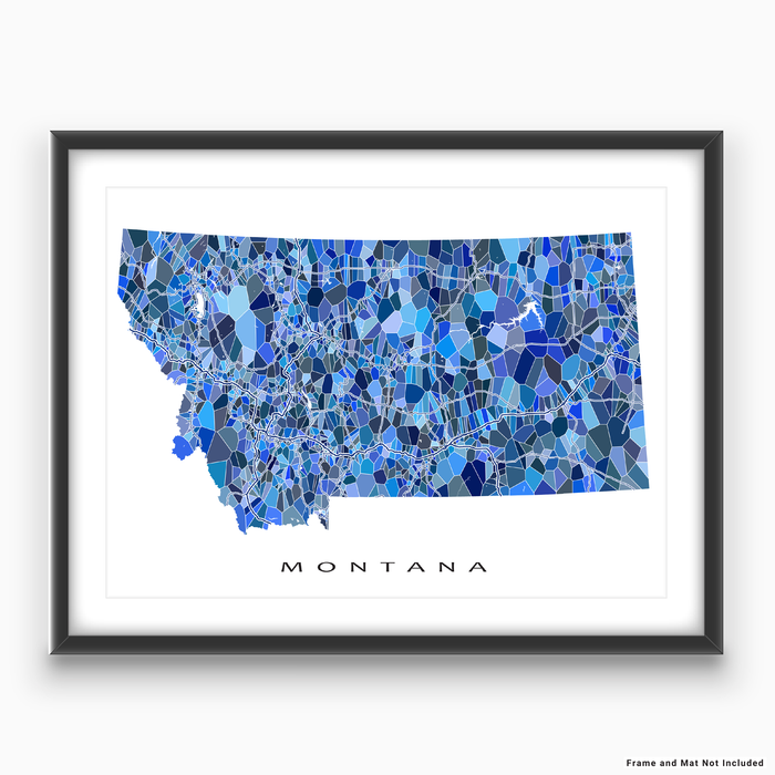 Montana state map art print in blue shapes designed by Maps As Art.