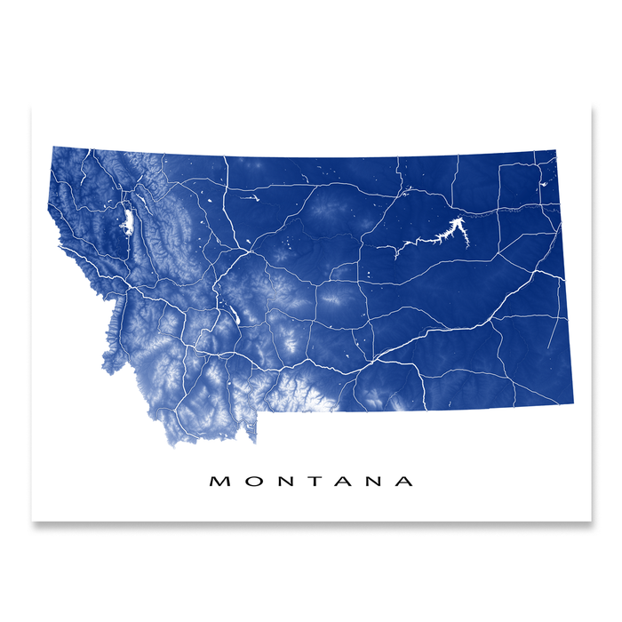 Montana state map print with natural landscape and main roads in Navy designed by Maps As Art.