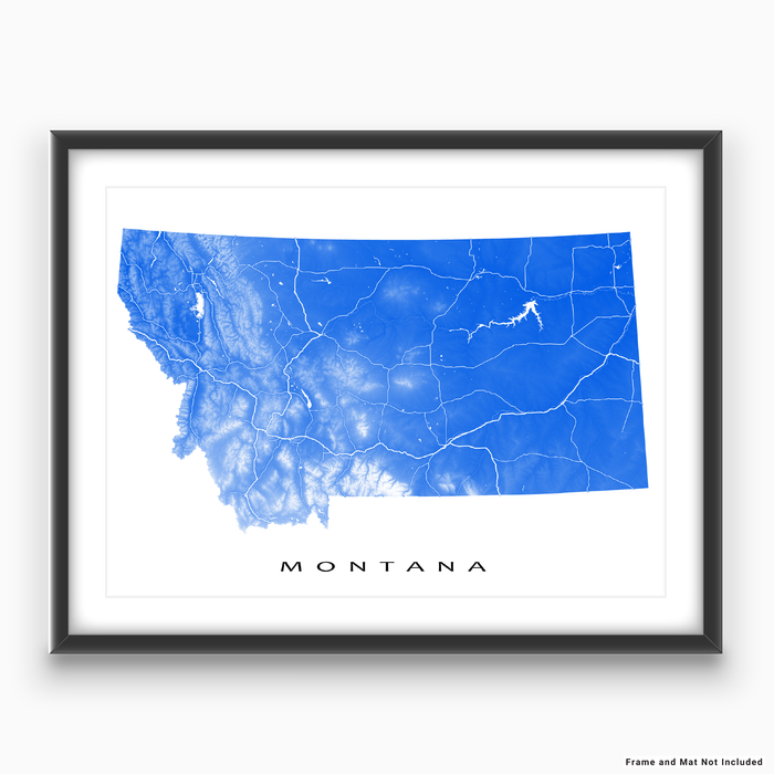 Montana state map print with natural landscape and main roads in Blue designed by Maps As Art.