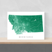 Montana state map print with natural landscape and main roads in Green designed by Maps As Art.