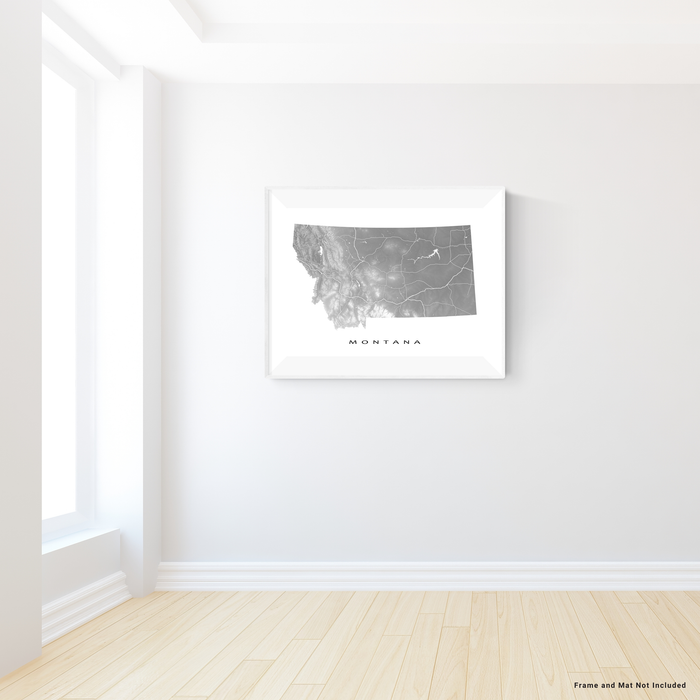 Montana state map print with natural landscape and main roads in Grey designed by Maps As Art.