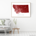 Montana state map print with natural landscape and main roads in Merlot designed by Maps As Art.