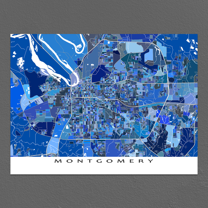 Montgomery, Alabama map art print in blue shapes designed by Maps As Art.