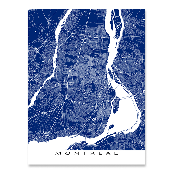 Montreal, Quebec, Canada map print with city streets and roads in Navy designed by Maps As Art.