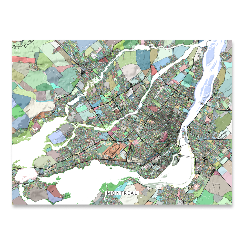 Montreal, Quebec, Canada map art print in colorful shapes designed by Maps As Art.
