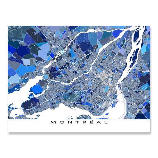 Montreal, Quebec, Canada map art print in blue shapes designed by Maps As Art.