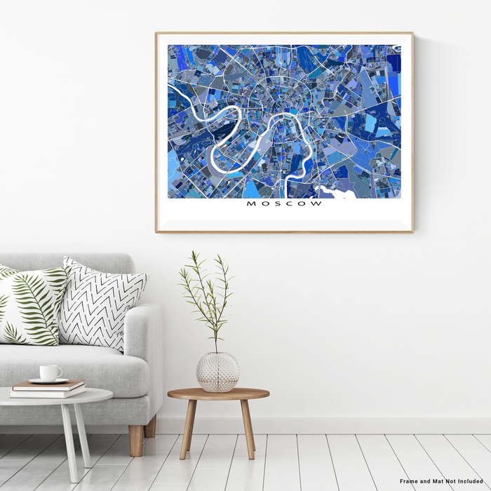 Moscow, Russia map art print in blue shapes designed by Maps As Art.